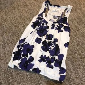 Navy and white floral racerback tank with lace